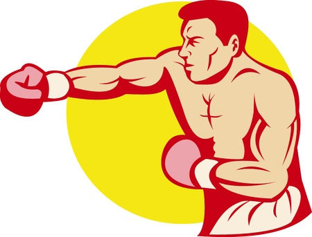 male boxer: illustration of a boxer or fighter punching