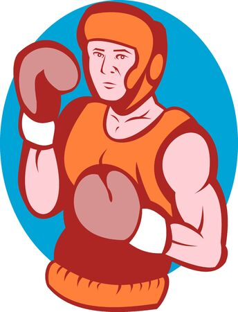 stance: illustration of an amateur boxer in fighting stance