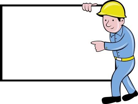 illustration of a cartoon construction worker with white board pointing on blank space isolated on white