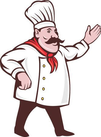 hi hat:  illustration of a cartoon Italian chef with mustache saying hello or welcome with hands extended isolated on white