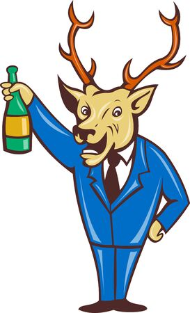 toasting wine: illustration of a cartoon deer holding champagne wine bottle in business suit on isolated background