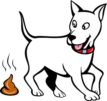 shit: illustration of a dog with poo isolated on white