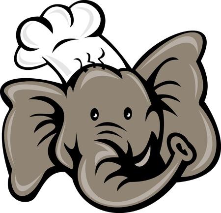panettiere:  illustrazione di un cartone animato cuoco cuoco o baker elefante testa visualizzata dalla anteriore isolato su sfondo bianco Archivio Fotografico
