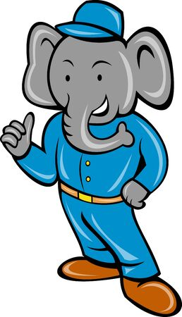 Cartoon elephant busboy or bellboy posing isolated on white background
