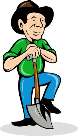 illustration of a farmer with shovel isolated on white Stock Illustration - 9707375