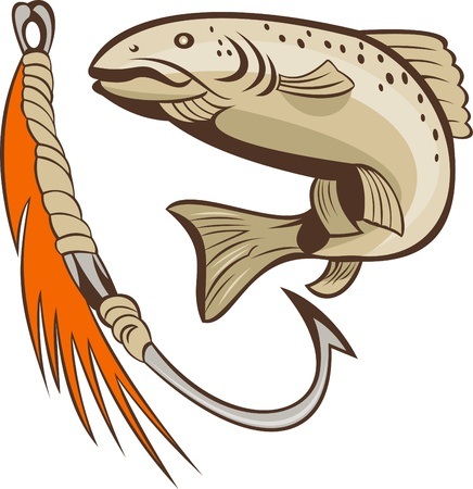speckled trout: illustration of a trout fish and fishing hook lure bait Stock Photo