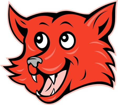 red head: illustration of a red fox head grinning smiling Stock Photo