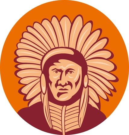capo indiano: illustrazione di un capo indiano nativi americano, la facciata di fronte.