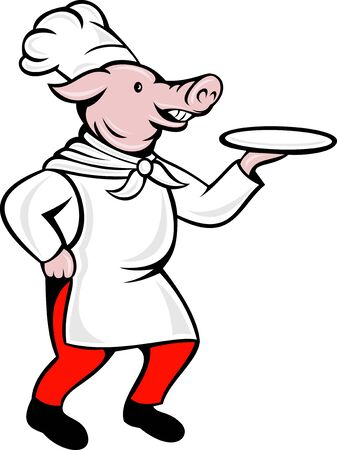 side dish: illustration of a cartoon pig chef cook or baker serving platter plate dish isolated on white viewed from side