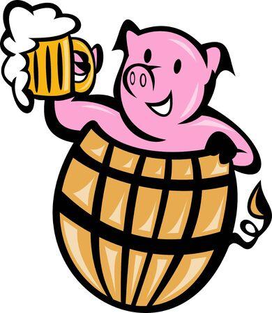 cerdo caricatura: Ilustración de un cerdo de cerdo en barril con jarra de cerveza aislado en blanco Foto de archivo