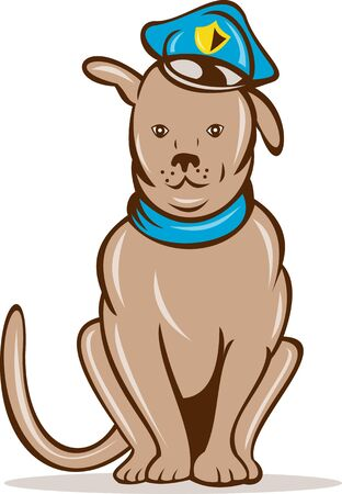 police dog:  illustration of a Cartoon police dog with cap sitting front view Stock Photo