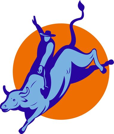 illustration of a Rodeo cowboy bull riding illustration