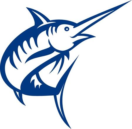 pez espada: Ilustraci�n de un pez marlin azul saltando aislado en blanco