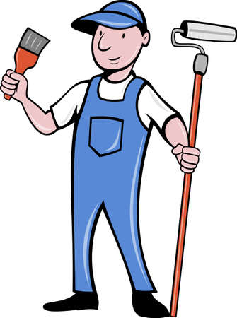 illustration of a House painter with paint roller and holding a paintbrush standing isolated on white done in cartoon style Stock Illustration - 9707370