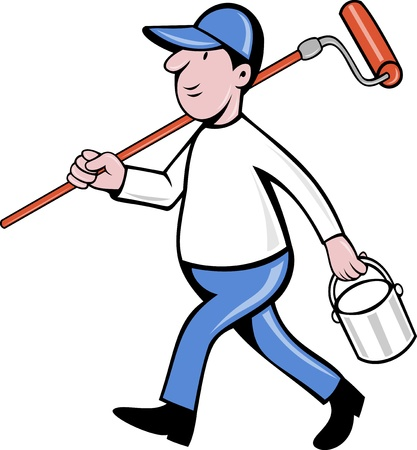 paint can: illustration of a House painter with paint roller and holding a paint can isolated on white done in cartoon style