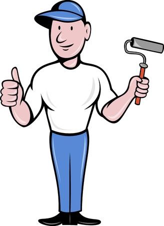 cartoon worker: Ilustraci�n de un pintor de casas con pintura rodillo pulgares arriba aislado en blanco hecho con estilo de dibujos animados Foto de archivo