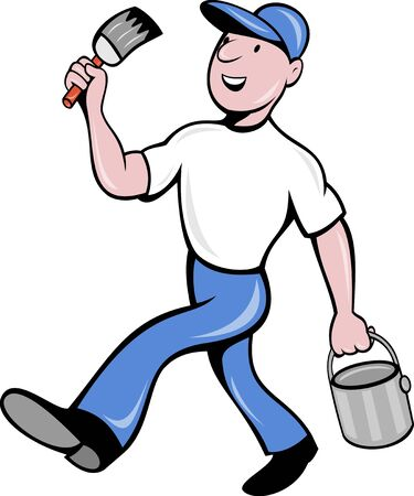 illustration of a House painter with paintbrush and holding a paint can walking isolated on white done in cartoon style Stock Photo