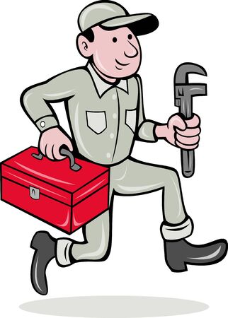 illustration of a plumber with monkey wrench and toolbox walking side  done in cartoon style on isolated background illustration