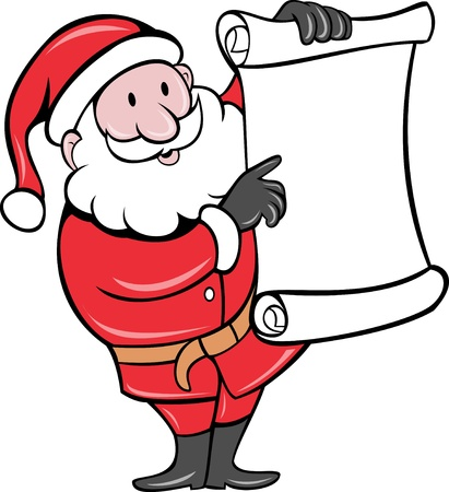 kris kringle: illustration of Father Christmas Santa Claus standing with paper scroll list on isolated background done in cartoon style Stock Photo