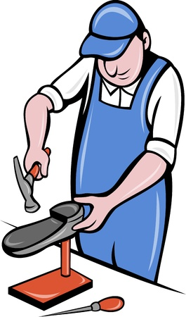 cobbler: illustration of a shoemaker , cobbler shoe repair working on isolated background done in cartoon style.