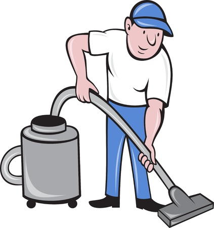 cleaner worker: illustration of a Male Cleaner vacuuming  with vacuum cleaning isolated on white background done in cartoon style.