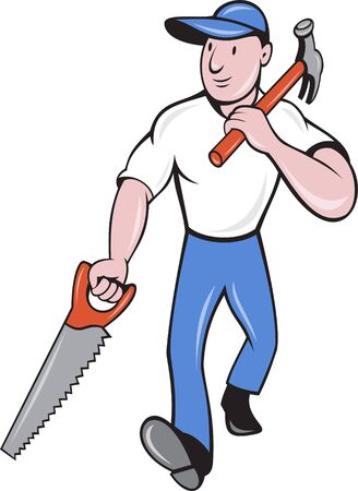 illustration of a carpenter tradesman worker with hammer and saw walking isolated on white cartoon style. Stock Illustration - 9707312