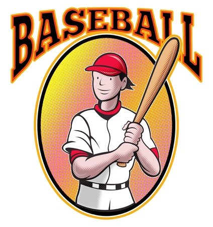 illustration of a baseball player batting cartoon style set inside oval in isolated background with words Baseball illustration