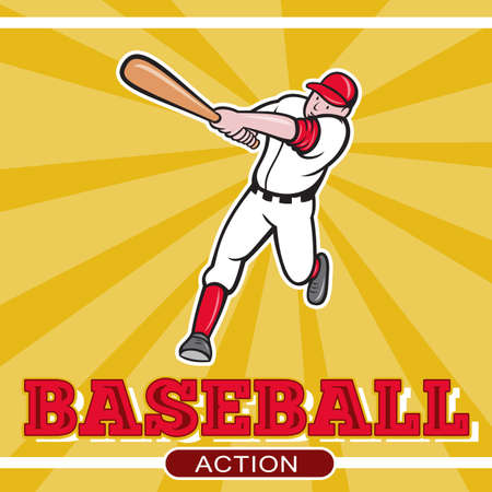 illustration of a baseball player batting cartoon style set inside square and ball in background with words Baseball Action illustration