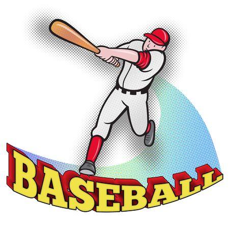 at bat: Ilustración de un jugador de béisbol bateo estilo cartoon aislado en blanco con palabras de béisbol Foto de archivo