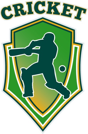 batsman: illustration of a cricket player batsman batting set inside shield isolated on white and words Cricket Stock Photo