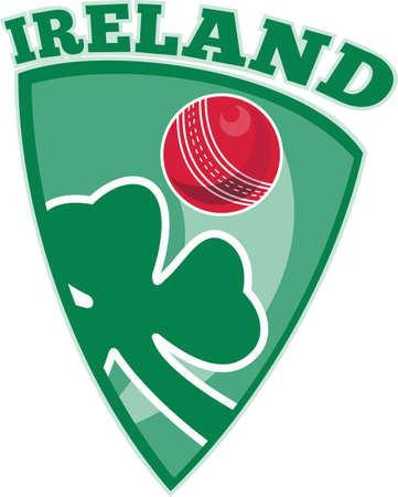 illustration of a cricket set inside shield with shamrock clover leaf isolated on white and words Ireland Stock Illustration - 9794136