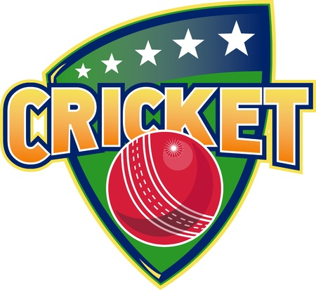 crickets: illustration of a cricket sports ball with shield and stars on isolated white  background done in retro style