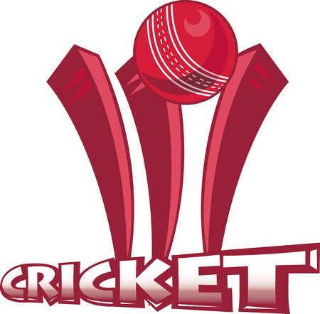 cricket sport: illustration of a cricket sports ball bowling over wicket  on isolated white  background done in retro style