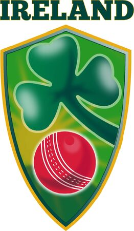 illustration of a cricket set inside shield with shamrock clover leaf isolated on white and words Ireland Stock Illustration - 9794151