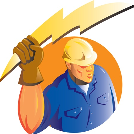 tradesman: illustration of a Construction worker electrician holding a lightning electricity bolt viewed from a high angle set inside circle isolated on white done in retro style