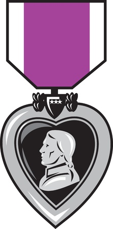 george washington: illustration of a military medal of bravery, honor and valor purple heart  showing a figure head king facing side