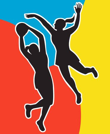 blocking:  illustration of two netball players silhouette jumping shooting blocking the ball