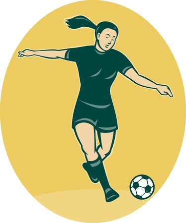 kicking ball: illustration of a woman girl playing soccer kicking the ball cartoon style