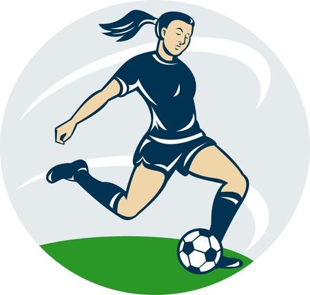 futbol soccer dibujos: ilustración de una niña, mujer, jugar al fútbol pateando la pelota de estilo de dibujos animados Foto de archivo