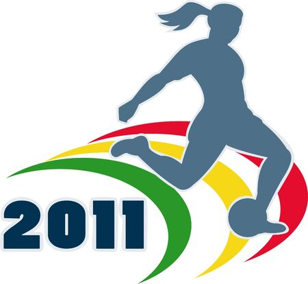 illustration of a woman soccer player silhouette kicking the ball with words 2011 illustration