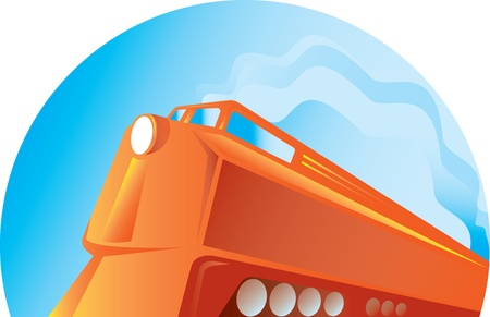 diesel train: illustration of a diesel train viewed from low angle done in retro style on isolated background