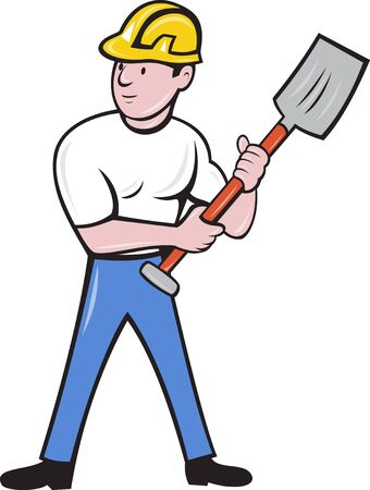 construction worker cartoon: illustration of a construction worker wearing hard hat holding a shovel spade standing front on isolated background done in cartoon style