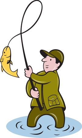 illustration of a fisherman fishing reeling in fish done in cartoon style on isolated white background. illustration