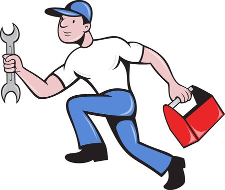repairman: illustration of a mechanic repairman worker with spanner and toolbox running viewed from side done in cartoon style on isolated background