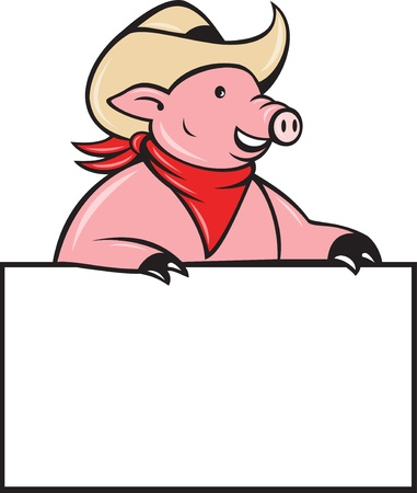 illustration of a Cowboy pig hog holding a blank sign looking to the side done in cartoon style on isolated white background. Stock Illustration - 9920131