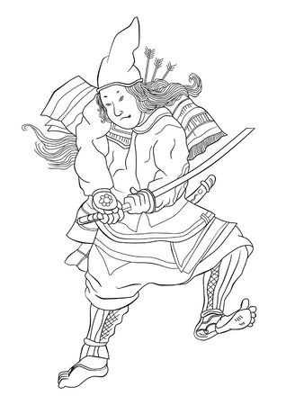 stance:  illustration of a Japanese Samurai warrior with katana sword in fighting stance done in cartoon style Stock Photo