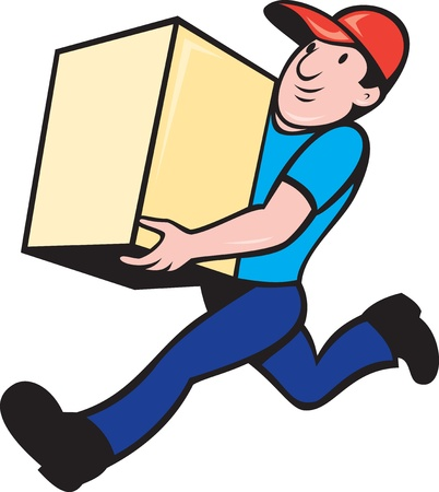 delivering: illustration of a delivery person worker running delivering box done in cartoon style on isolated background