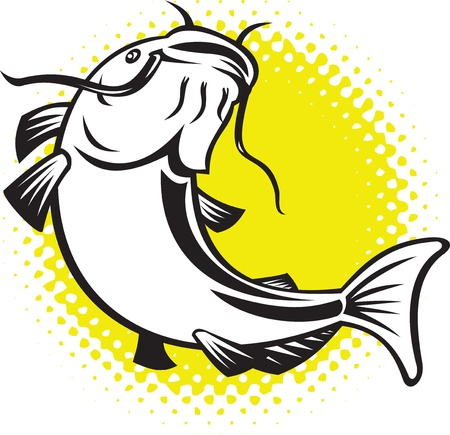 illustration of a Catfish jumping up with halftone dots done in retro style. Stock Illustration - 9967017