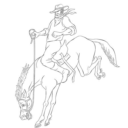 bronco: illustration of rodeo cowboy riding bucking horse bronco on isolated white background done in black and white cartoon style Stock Photo