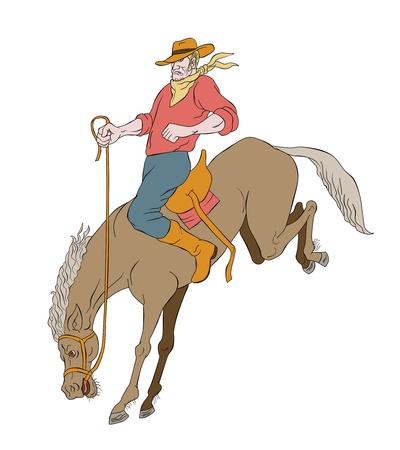 illustration of rodeo cowboy riding bucking horse bronco on isolated white background cartoon style illustration